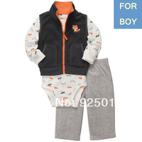 Carters Original Baby Boy 3-pcs Micofleece Vest Suit Little Fox Infant Fall Winter Clothing Set, In Store, YW