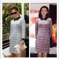 Виктория Бекхэм Звездный стиль Женская мода пэчворк тонкий женский мини-платье летнее шифоновое платье lcw1081