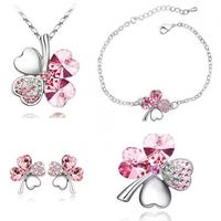 Crystal four leaf clover necklace+earring+bracelet+brooch wedding gifts jewelry set piece set