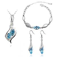 Fashion Popular rhinestone horse eye Crystal Earrings Necklace Bracelet three set jewelry sets wholesale