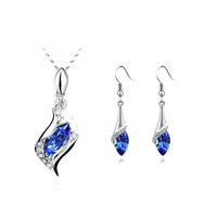 Fashion Crystal set  twinset Angel elves earrings necklace Jewelry Sets