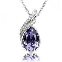 Fashion 18K white gold plated austrian crystal elegant women rhinestone Pendants necklace