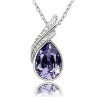 (Min order $10 mix) Fashion 18K white gold plated austrian crystal elegant women rhinestone Pendants necklace