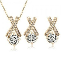 Wholesale 18K gold plated austrian crystal Hearts and arrows set women wedding necklace+earrings fashion jewelry sets