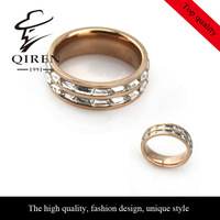 High quanlity titanium steel ring rose gold white cube CZ zircon stone ring for women gift for girls,QR-199