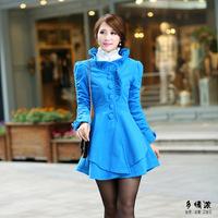 2014 winter coat women ladies sweet ruffles slim women coat irregular hem collar single-breasted  woolen coat