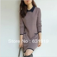 autumn high quality women's wool faux two piece slim woolen one-piece dress plus size XXL