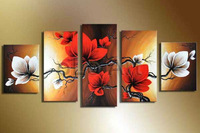 handpainted wall art modern abstract  white red flower pictures for living room home decor 5 piece oil paintings on canvas F/895