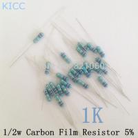 1/2W 1k ohm 1K 5% resistor 1/2w 1k ohm carbon film resistor / 0.5W color ring resistance (100pcs/lot)