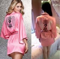 Diamante Fashion T Show Victoria Love Pink Satin Sexy Silk Night Robe