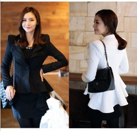 High quality Women White Black Casual Suit One Button Blazer Jacket Swallowtail Style Hot #C0286