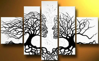 handpainted 5 piece black white modern abstract oil paintings canvas wall art tree of life pictures for home decoration F/840