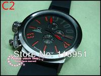 2014World watches rubber band big dial calendar automatic movement men's watch fashion waterproof new luxury business  U08