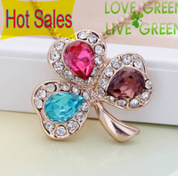 Wholesales High Quality 18k White Gold Plated Colorful Crystal Leaf Heart Pendant Necklace Fashion Jewelry K329x