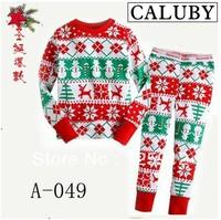 Free Shipping brand Caluby, Boys Girls Sleepwear Children Cartoon red christmas clothes Pajamas Kids long Sleeve Pyjamas , A-049