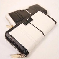 Autumn brief women's black and white horizontal zipper soft bow long wallet design
