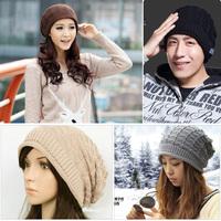 Hot Sale Fashion Women Man Winter Warm Knit Wool Crochet Hats Girls Baggy Slouchy Beanie Casual Acrylic Hat Cap Free Shipping