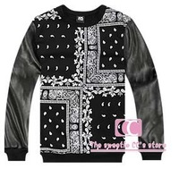 Fashionable autumn and winter sweatshirts for men leather sleeves patchwork cashew flowers vintage totem print black sweater