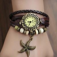 New Stylish Quartz Weave Wrap Synthetic Leather Bracelet Watch,Women's Hand Knit bracelet Wristwatch 5 Colors Wholesale 18657