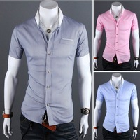 2013 summer new men's short sleeve shirts, men's shirts Slim Business Casual muscle, tidal male quality menswear free shipping