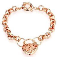 Filigree Heart Locket 18k Rose Gold Filled GF Women's Bracelet W/ Spring Clasp Length Adjustable Free shipping