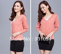 2013 autumn women's wool long-sleeve shirt collar sweater female faux two piece cardigan spring and autumn