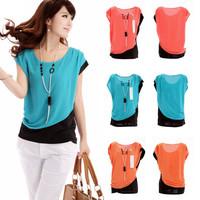 Casual Short Sleeve Round Neck Blouses Ladies Chiffon Shirt 2014 Summer Women Career Tops blusas femininas High Street Tees Y69