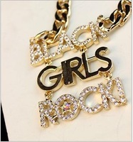 SP346 Black girls ROCK!! New long section of the new two-color metal chain necklace gemstone