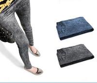 Pleated fake snowflakes pocket print / Leisure Fashion Women Leggings Polyester / spandex jeans