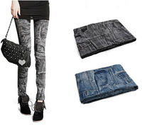 ReLro pocket pattern print / Leisure Fashion Women Leggings Polyester / spandex jeans