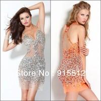 2014 Sexy Sheath Spaghettl Strap Beaded Tulle Short Prom Dress