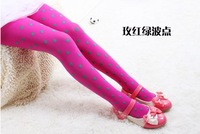 Free Shipping 2013 New Fashion 3-12years Baby Girls Pantyhose Dot Velvet Tights Candy Color Stocking Kids Pants Outfits