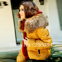 Ultralarge 2013 Women's Winter Luxurious Fur Collar Down Jacket Thickening Short Design Coat  Free Shipping Down Jacket Women