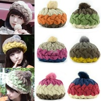 Dropshipping 5pcs/lot Women's Winter Knit Hat Splicing Color Wool Warm Cap Baggy Beanie Headwear 6 Colors 18573