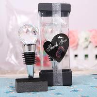 Home Party Practical Favor Gift Crystal Ball Chrome Wine Bottle Stopper For Baby Shower Christening Wedding Favour Bomboniere
