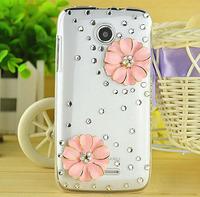 for Lenovo A390 Handmade Pink flower Bling Diamond Crystal Cover blossoms Bling Diamond Hard Back Case