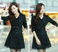 Free Shipping 2013 Korean Version of Ladies  Bow Lace Coat and long sections Slim Trench Clothes Plus Size Women Outwear