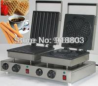Doulbe-Head 220v Electric Churros Maker + Heart Waffle Maker Machine Baker