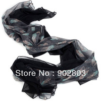 Free shipping ,Hot !!!New Arrival Women Chiffon Double-Deck Soft Feather Printing Half Solid Simple Color Autumn Scarf ,NL-2133