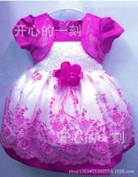 Wholesale (4 piece / lot) Baby Girls dresses Summer 2014 cute design Clothing Chiffon Princess lace dress for Kids