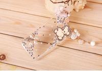 Handmade 3D Wood Heart Little Bear and Flower Bling  Pendant Case For Lenovo A390 Petals wood chips hold Bear cat case