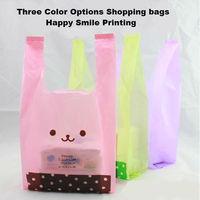 18x10x35cm plastic bags vest bag dot smile figure printing random deliver one color 100pcs/lot  promotional packing