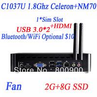 desktop computers free shipping with USB 3.0 HDMI SIM slot Intel C1037U dualcore 1.8GHz HD Graphic 2G RAM 8G SSD Windows linux