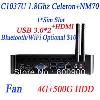 computer kiosk pc with USB 3.0 HDMI SIM slot Intel C1037U dualcore 1.8GHz HD Graphics 4G RAM 500G HDD Windows or linux alluminum