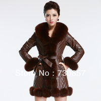 In 2013, the new fox fur fur the fox led the sheep skin long leather female elegant free mail