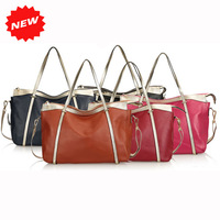 2013 100% Genuine Leather Fashion New Arrival Women All-match Shoulder Bag Tote+Messenger Handbags,Shopping Bags,5 Colors,Q0405