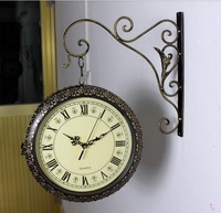 antique big wall clock double faced clocks quieten fashion vintage mute wall decor clocks free shipping