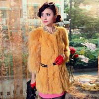 free shipping Wholesale & retail  2013 rabbit fur coat fur raccoon fur female slim