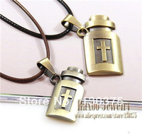 Personalized Jewelry Retro Fashion 2013 Antique Bronze Snake Chain Necklace Lucky Bottle Crosses Cute Pendant Couple Necklace