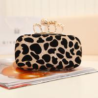 Miss Yes Vintage leopard evening bag metal skull leopard mini day clutch hot fashion lady women's handbag cosmetic bags